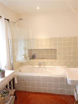 This level has the main bathroom with bath and shower.  There are also a hairdryer and heated towel rail.